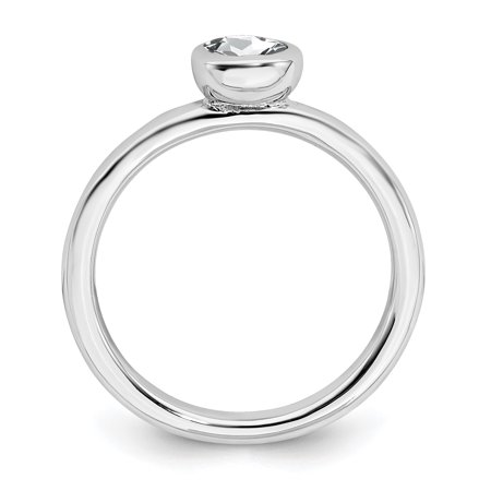 Sterling Silver Stackable Expressions Low 5mm Round White Topaz Ring Size 8 - image 2 of 3