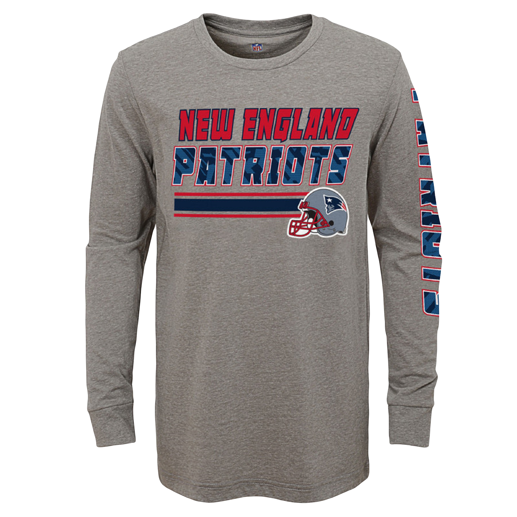 Youth Gray New England Patriots Tri-Blend Long Sleeve T-Shirt