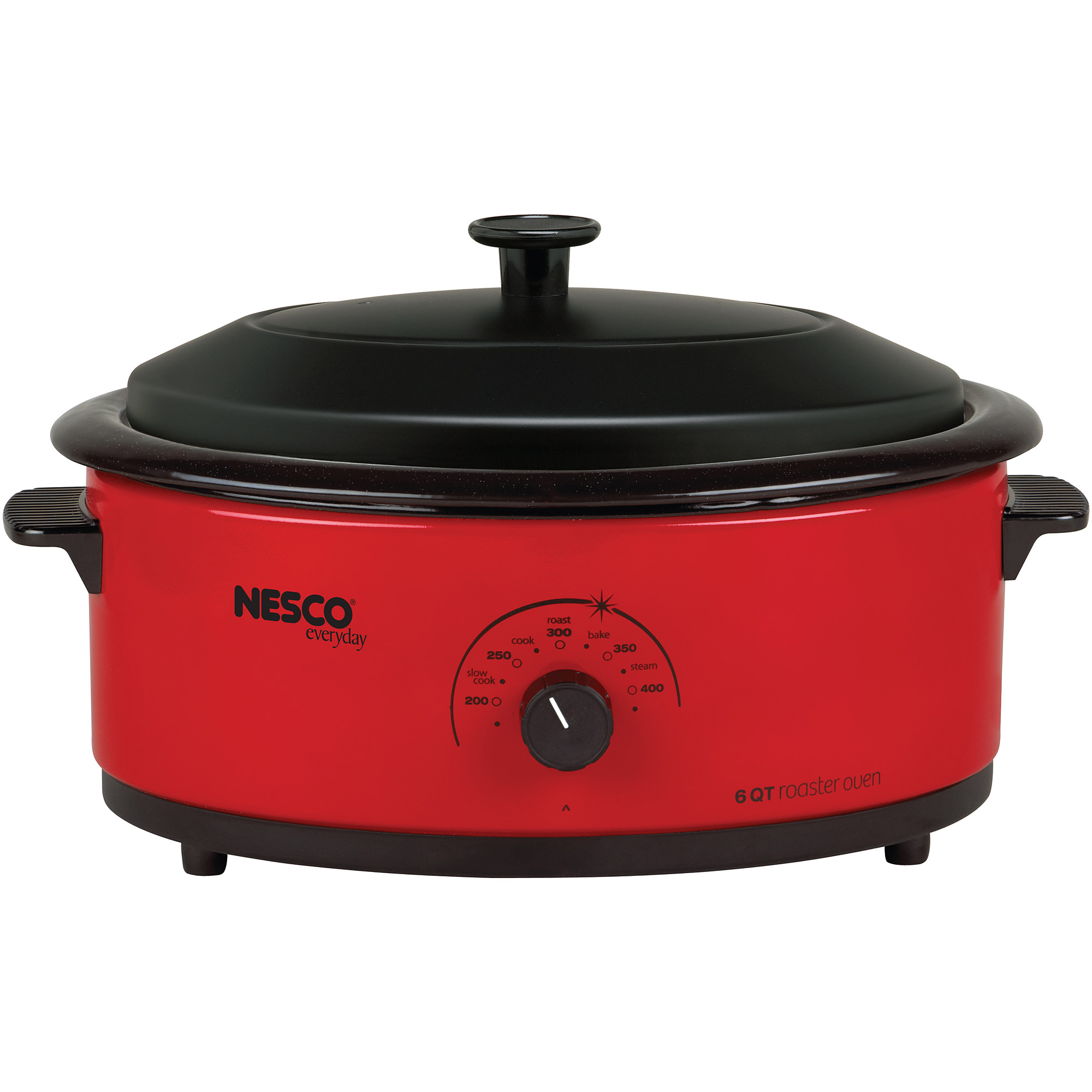 Nesco 6 Quart Capacity Red Roaster oven - Porcelain Cookwell - Black Lid