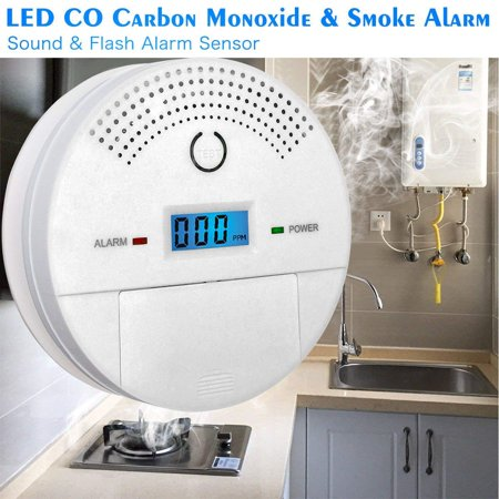 Arzil Combination Photoelectric Smoke and Carbon Monoxide Detector for Home, Travel Portable Fire&Co Alarm Battery Operated with Sound Warning and Digital