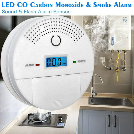 Carbon Monoxide Detector + Smoke Fire Alarm - Combo CO Detector & Smoke Sensor Alarm Sound Photoelectric Tester, Battery Operated with Digital Display for CO Level (White)