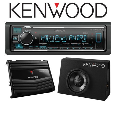 Kenwood KMM-BT525HD w/ P-W100B Digital Media Receiver with Built-in Bluetooth and HD Radio with Vented Enclosure Box Subwoofer with 400W Amplifier ()