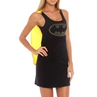 Batman Nailhead Logo Juniors Sleep Tank Dress with Cape