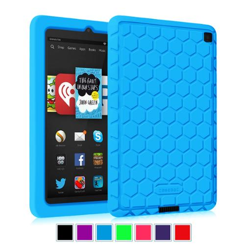 Kindle Fire HD 6 Tablet (2014 Oct Release) Silicone Case - Fintie Kids Friendly Protective Skin Cover Shock Proof, Blue