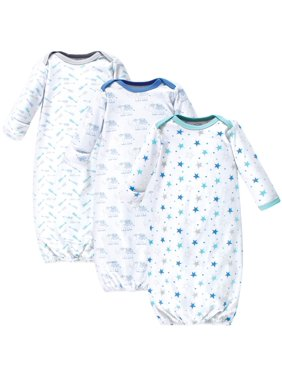 Luvable Friends Baby Boy or Girl Unisex Gowns, 3pk