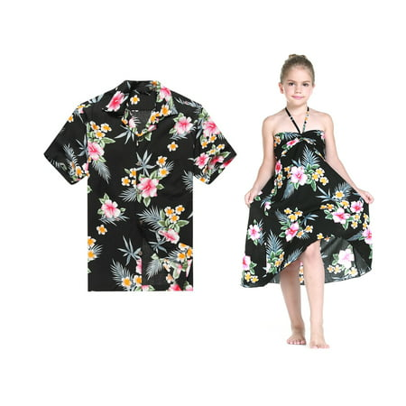 Matching Father Daughter Hawaiian Luau Cruise Outfit Shirt Dress Hibiscus Black Men 2XL Girl - Hawaiian Outfits For Party