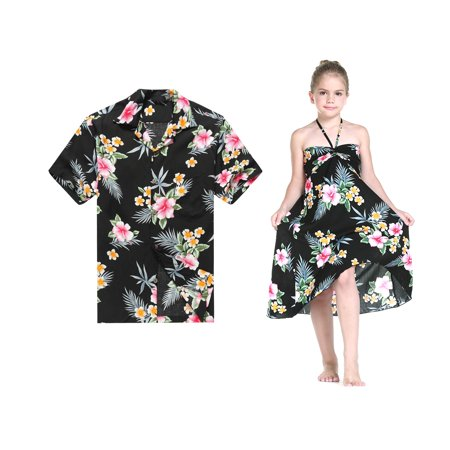 Matching Father Daughter Hawaiian Luau Cruise Outfit Shirt Dress Hibiscus Black Men 2XL Girl 10 - Luau Hawaii