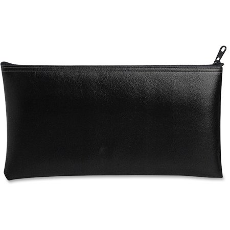 Blue Zippered Wallet (Leatherette Zippered Wallet, Leather-Like Vinyl, 11w x 6h, Black)