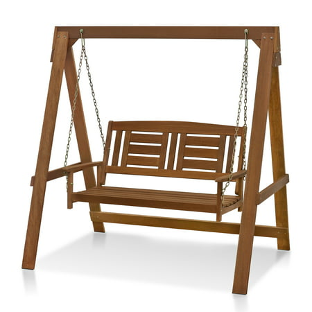 Teak Swing Seat - Tioman Hardwood Hanging Porch Swing with Stand in Teak Oil, FG16409