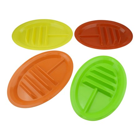 Set of 4 - Taco Holder Stand Up Divider Plates Multi Colored Plastic Plates