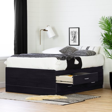 South Shore Cosmos Captain 4-Drawer Storage Bed, Full, Black (Full Size Captains Bed With Under Bed Storage)