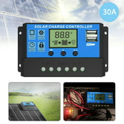30A/20A/10A Solar Charge Controller , TSV Solar Panel Controller 12V/24V PWM Auto Paremeter Adjustable LCD Display Solar Panel Battery Regulator with Dual USB