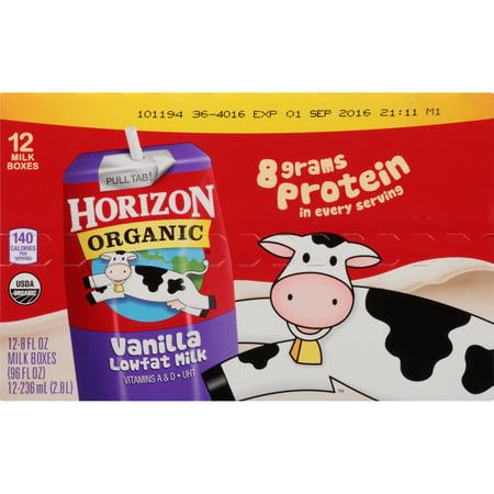 - Horizon Organic Vanilla Low-Fat Milk, 8 Fl. Oz., 12 Count