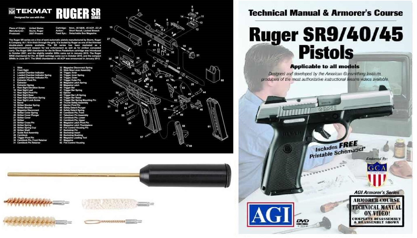 Ultimate Arms Gear Gunsmith & Armorer Cleaning Work Bench Gun Mat Ruger SR  9 40 45 Series + Compact Pocket Sized Travelling Cleaning Kit + American