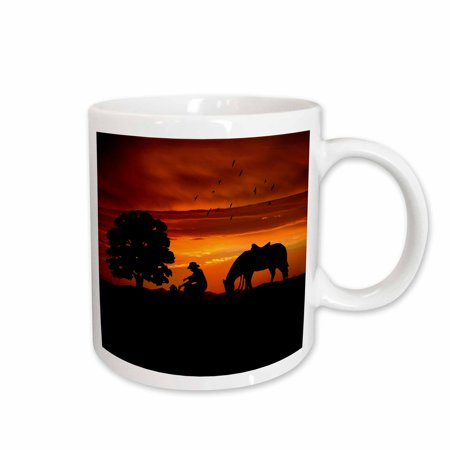 3dRose Cowboy Campfire with Horse on a Hill at Sunset has a Western feel., Ceramic Mug, 11-ounce - Cowboy Boot Glass Mug