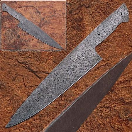 Damascus Kitchen Knives - Damascus Full Tang Ladder Pattern Blank Chef Knife - Ltd.Edition 3