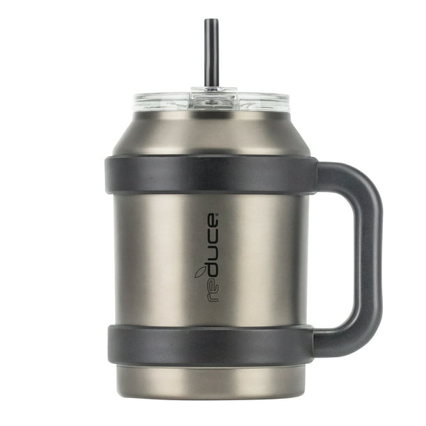 Reduce Tumbler 50 Oz Stainless Steel Tumbler With Straw Lid And Handle 36 Hours Cold Large Insulated Mug For Cold And Hot Drinks Sweat Proof Body Dishwasher Safe Charcoal Walmart Com Walmart Com