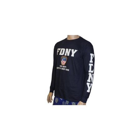 FDNY Long Sleeve Fire Dept Licensed T-Shirt Navy - Fire Department Tee Shirts