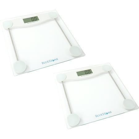 (2 Pack) Bluestone Digital Glass Bathroom Scale with LCD