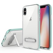 IPHONE X Case, Apple IPHONE X Case, Torryka Crystal Clear Hard Ultra Slim fit Anti Scratch Bumper with Magnetic Metal Kickstand Protective Case Cover for for IPHONE X (TEAL)