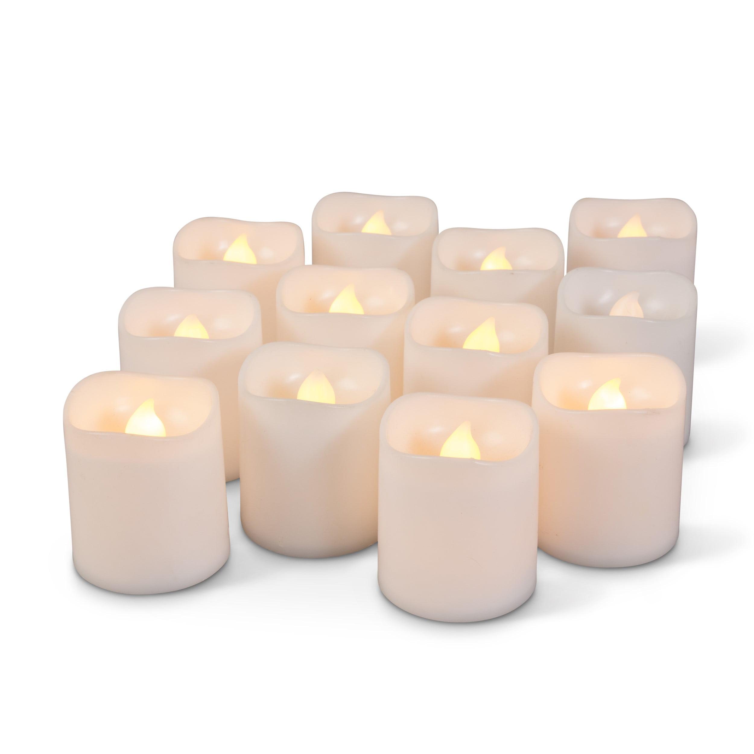Everlasting Glow Wavy Edge LED Votive Candle with Flicker (Set of 12), White