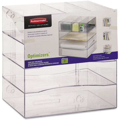 Rubbermaid Optimizers 4-Way Organizer w/Drawers, Plastic, Clear