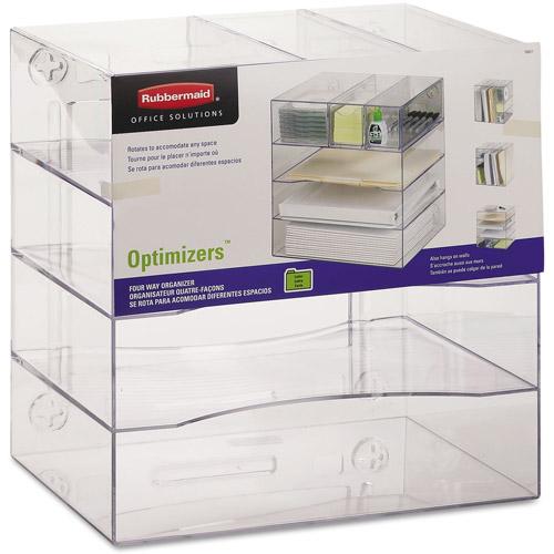 Rubbermaid Optimizers 4-Way Organizer w/Drawers, Plastic, Clear