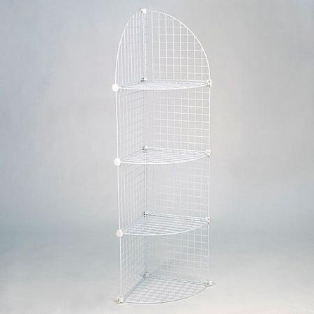 KC Store Fixtures Mini grid corner unit, 4 shelf - white