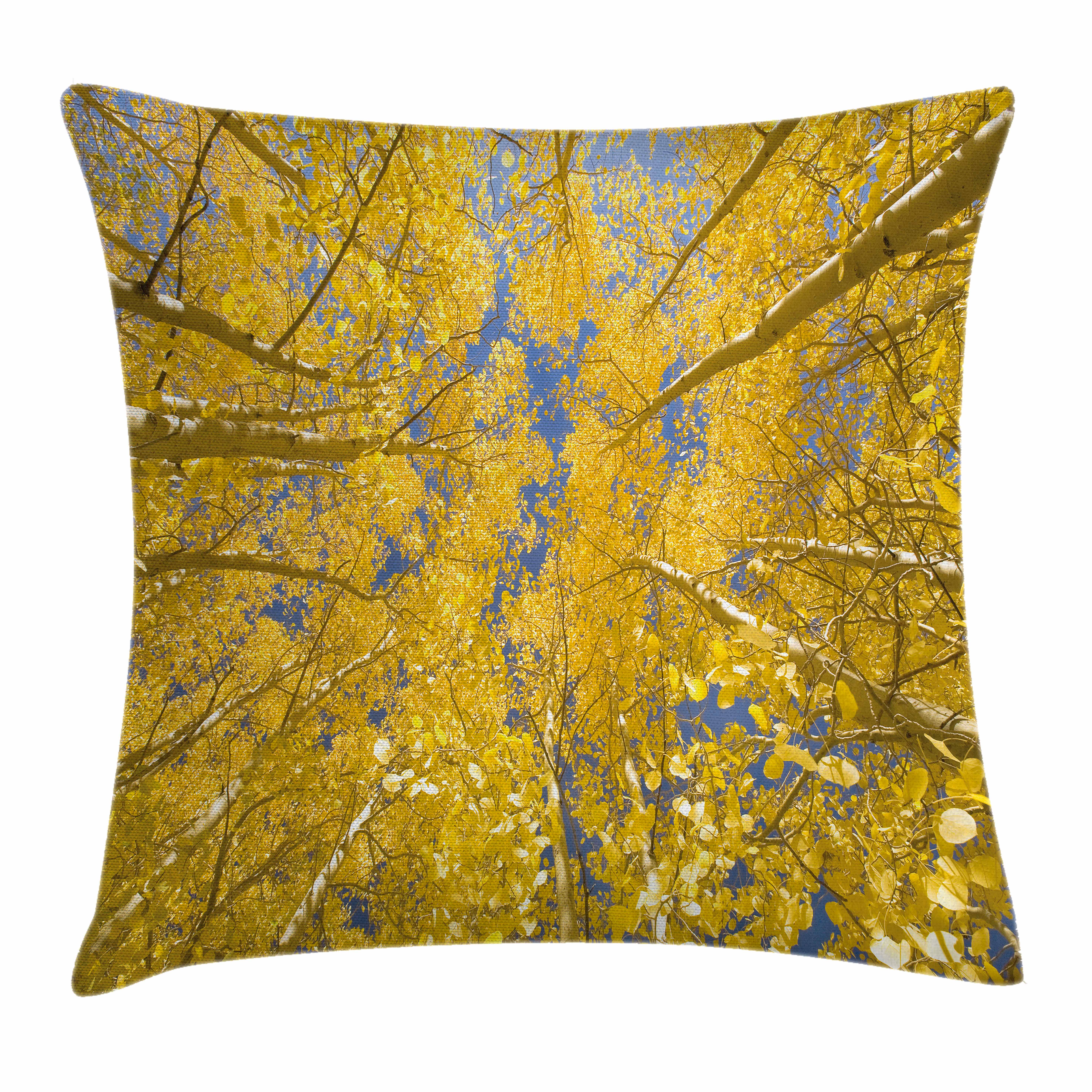 Yellow and Blue Throw Pillow Cushion Cover, Looking Skyward amongst the Patch of Sun-lit Aspen Trees in Autumn Life Print, Decorative Square Accent Pillow Case, 16 X 16 Inches, Yellow, by Ambesonne
