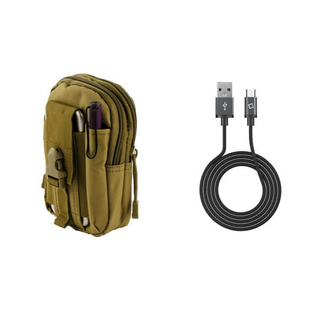 LG Harmony M257 (Cricket) - Bundle: Tactical EDC MOLLE Utility Waist Pack Holder Pouch (Tan), 2.0 USB-A to Micro USB Data Sync Charger Cable (3.3 Feet), Atom Cloth