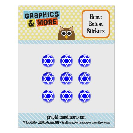 Shield 2.25 Button (Star of David Shield Jewish Home Button Stickers Set Fit Apple iPhone iPad iPod Touch )