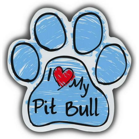 Scribble Paw Dog Magnets: I Love My Pitbull Pit Bull   Cars, Refrigerators
