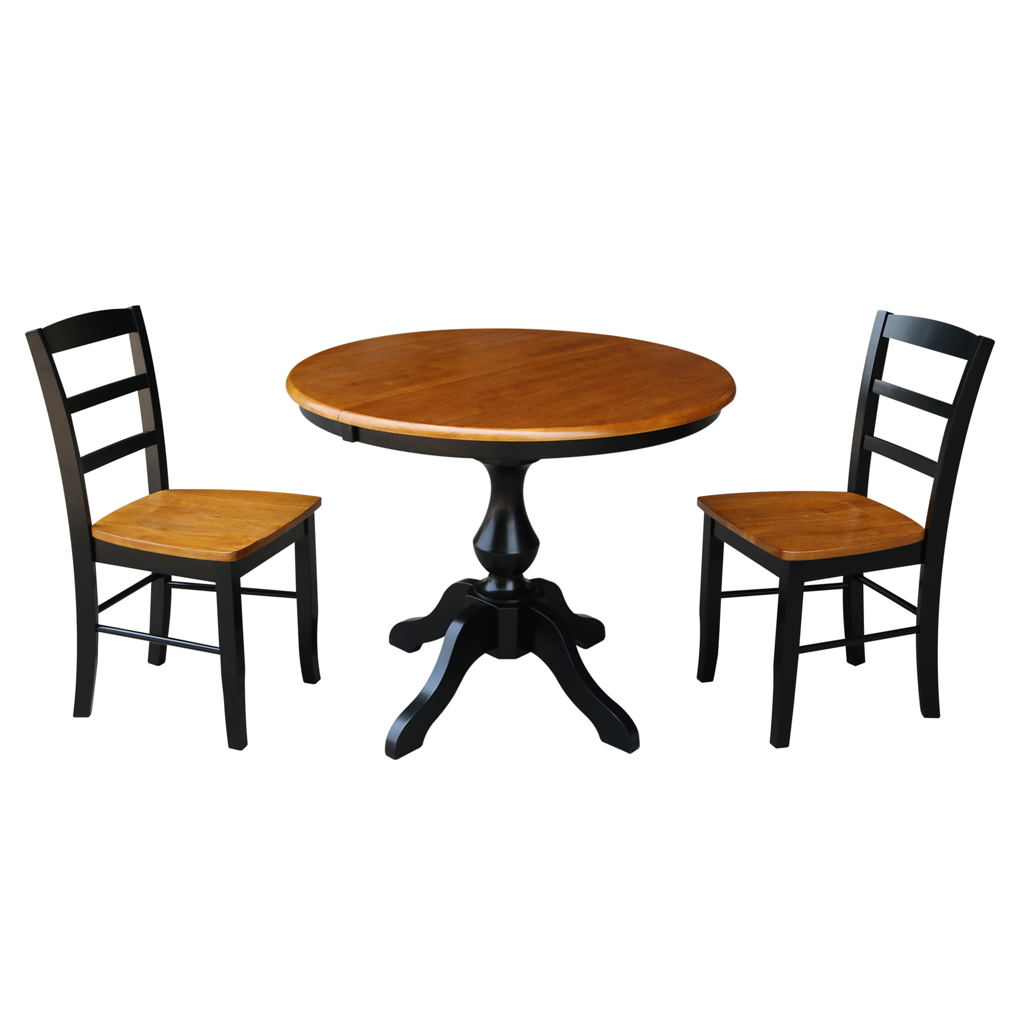 """36"""" Round Dining Table with 12"""" Leaf and 2 Madrid Chairs - Black/Cherry - 3 Piece Set"""