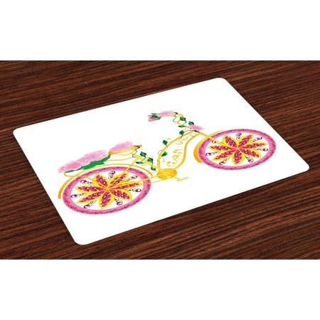 Bicycle Placemats Set of 4 Fantasy Bike with Exotic Swirling Floral Detail on the Seat and Tires Hippie Image, Washable Fabric Place Mats for Dining Room Kitchen Table Decor,Pink Yellow, by Ambesonne