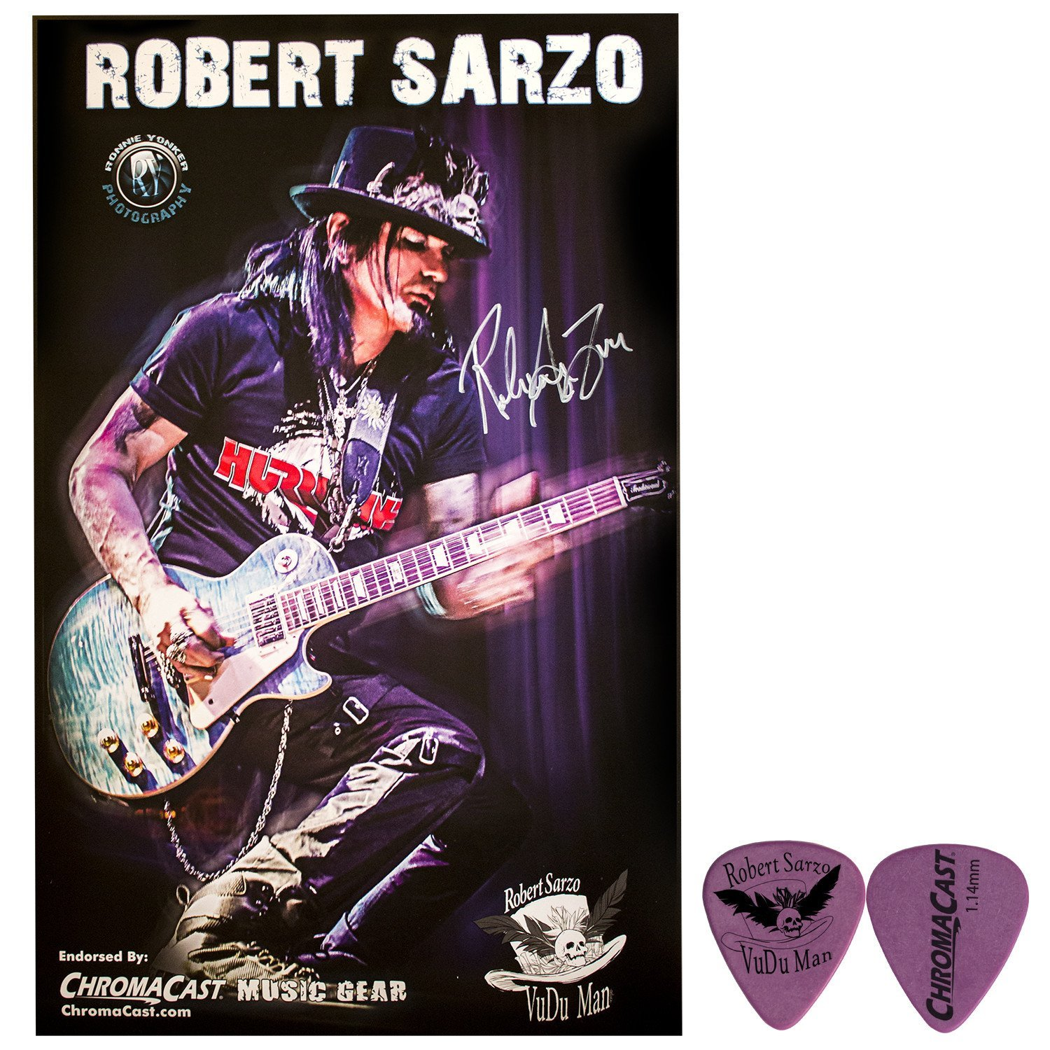 "Robert ""VuDu Man"" Sarzo Autographed Poster Pack & Signature Guitar Pick... by ChromaCast"