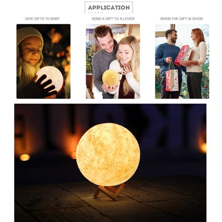 Light Touch Photography (3D USB LED Moon Night Light Lamp USB Charging Touch Control Home Decor Gift)