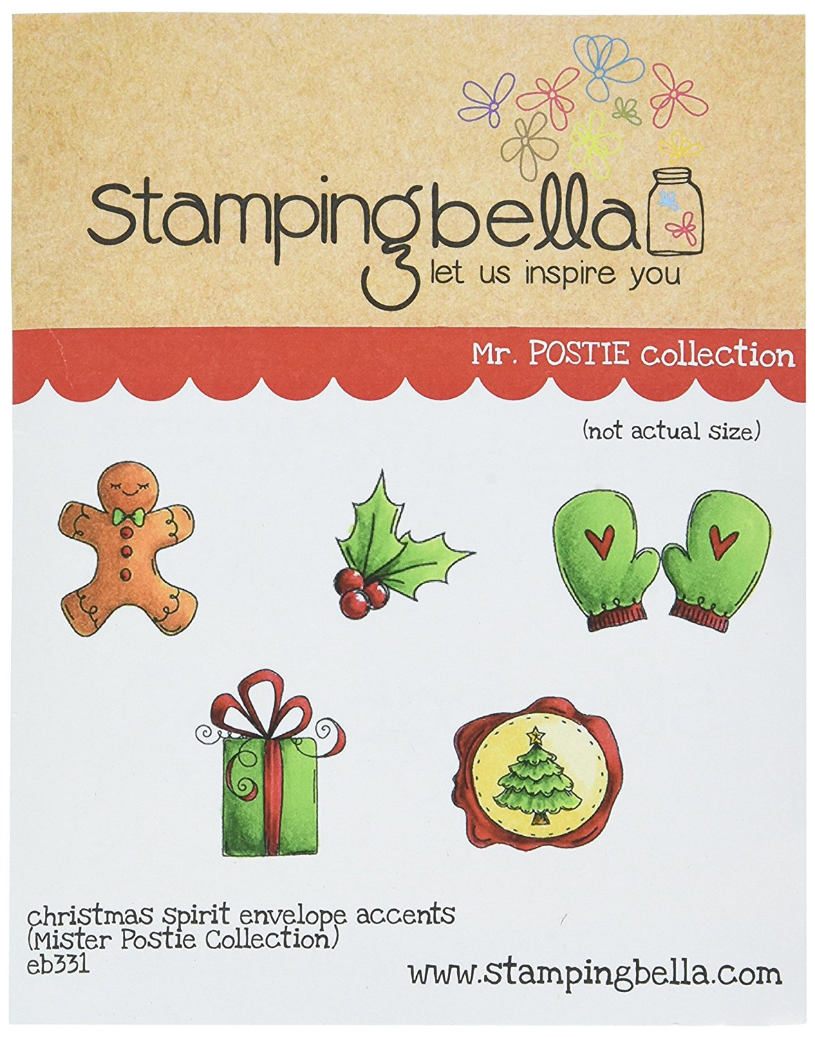 EB331 Christmas Spirit Envelope Accents Cling Stamp, 6.5\