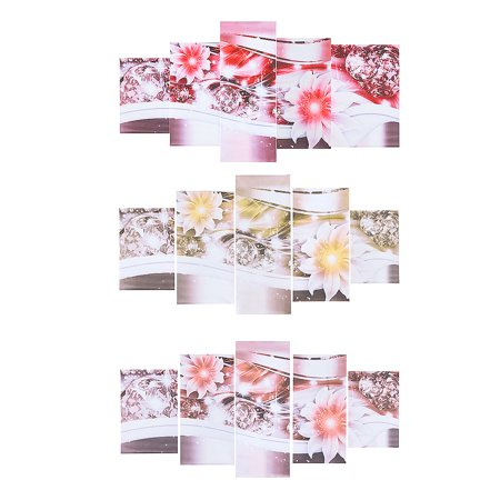 5PCS Diamond Flower/Lilies Oil Painting Picture Wall Art Canvas Prints Modern Abstract Home Decor No Frame Christmas Gift