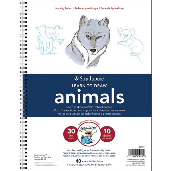"Strathmore Learn To Draw Wire Pad 9""X12""-Animals"