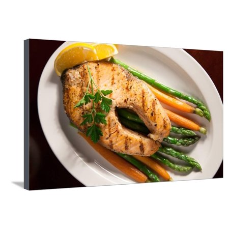 Grilled Salmon Steak and Vegetables Stretched Canvas Print Wall Art By evgenyb