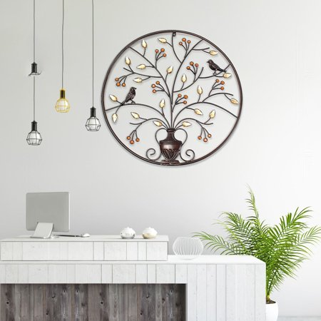 Birds Tree Iron Sculpture Ornament Home Room Wall Hanging Decoration 24'' x 24'' - image 5 de 8