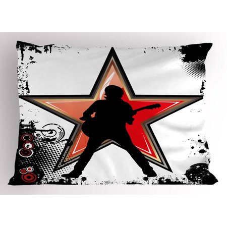 Rock Music Pillow Sham Guitar Player Star Abstract Monochrome Splashes and Halftone Frame Pattern, Decorative Standard Size Printed Pillowcase, 26 X 20 Inches, Black Red Peach, by Ambesonne
