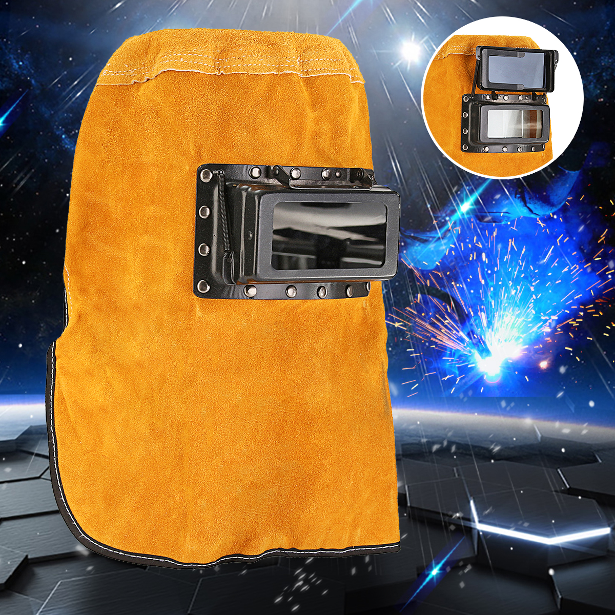 Durable Heat Resistant Breathable Welding Helmet Protection Mask with Lens, Leather Welding Mask