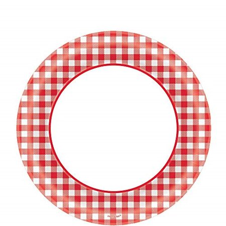 Amscan Picnic Gingham Party Round Plates, 8.5