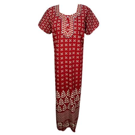 Short Caftan - Mogul Womens Cotton Printed Maxi Dress Short Sleeves Night Wear Evening Comfy Sleepwear House Dress Caftan L