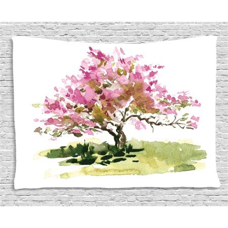Japanese Tapestry, Cherry Blossom Watercolor Sakura Leaves Sketch Asian Foliage, Wall Hanging for Bedroom Living Room Dorm Decor, 60W X 40L Inches, Green Pink and Reseda Green, by Ambesonne