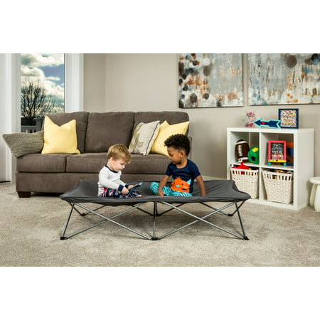 Regalo My Cot Extra Long Portable Toddler Bed, Gray, Includes Sheet