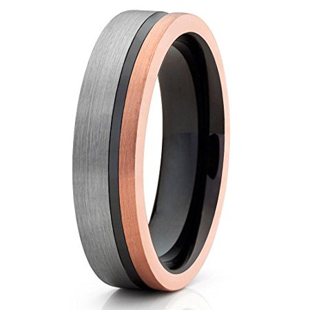 6mm Rose Gold Tungsten Carbide Wedding Band Brushed Silver Black Groove Inlay Unique Design Comfort Fit Unisex Ring 12.5