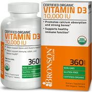 Vitamin D3 10,000 IU Bone Health and Immune Support, USDA Certified Organic, Non-GMO Gluten Free, 360 Tablets