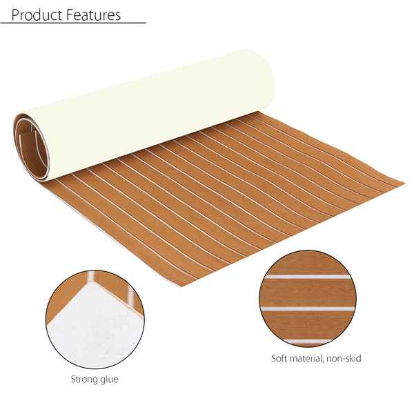 35''X91'' 6mm Thickness EVA Foam Synthetic Teak Sheet Boat Yacht Flooring White Lines Brown 89x230x0.6cm Decking Self-Adhesive